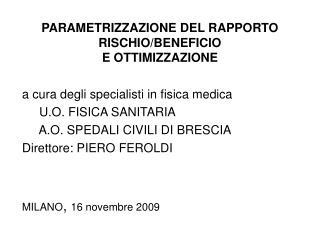 PARAMETRIZZAZIONE DEL RAPPORTO RISCHIO