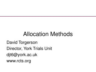 Allocation Methods