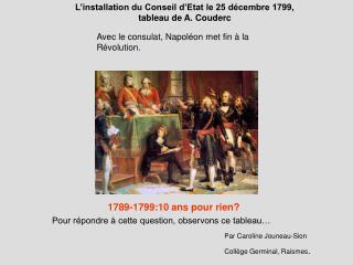 L installation du Conseil d Etat le 25 d cembre 1799,  tableau de A. Couderc