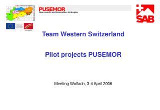 Team Western Switzerland Pilot projects PUSEMOR