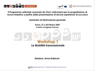 Workshop 1 La Mobilit  transnazionale
