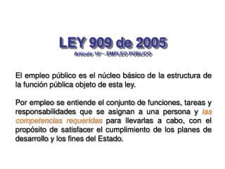 LEY 909 de 2005 Art culo 19  - EMPLEO P BLICO