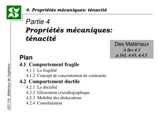 Plan 4.1  Comportement fragile  4.1.1  La fragilit   4.1.2  Concept de concentration de contrainte 4.2  Comportement duc