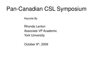 Pan-Canadian CSL Symposium