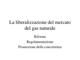 La liberalizzazione del mercato del gas naturale