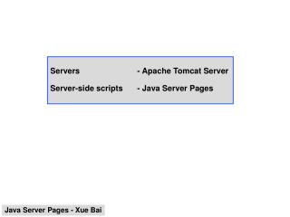 Servers  - Apache Tomcat Server  Server-side scripts - Java Server Pages