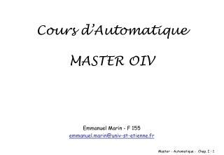 Cours d Automatique  MASTER OIV