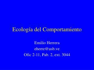 Ecolog a del Comportamiento