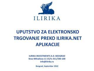Elektronsko trgovanje ILIRIKA.NET