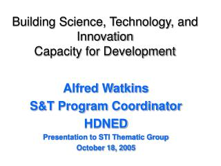 Building Science, Technology, and Innovation Capacity for Development