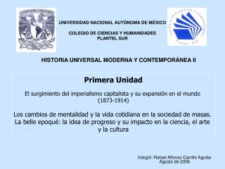 Primera Unidad  El surgimiento del imperialismo capitalista y su expansi n en el mundo  1873-1914  Los cambios de mental