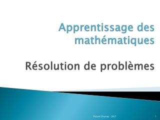 Apprentissage des math matiques  R solution de probl mes