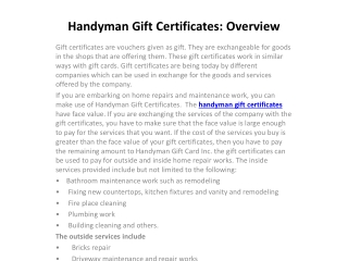 Handyman Gift Certificates: Overview