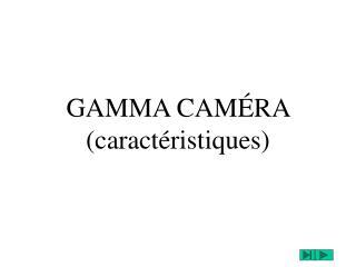 GAMMA CAM RA caract ristiques