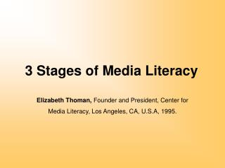 3 Stages of Media Literacy