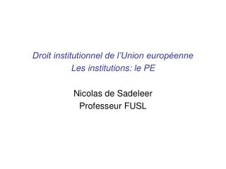 Droit institutionnel de l Union europ enne Les institutions: le PE  Nicolas de Sadeleer Professeur FUSL