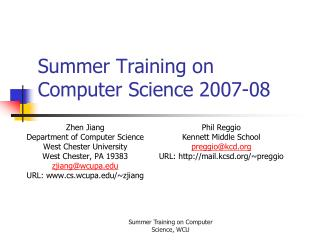Summer Training on Computer Science 2007-08