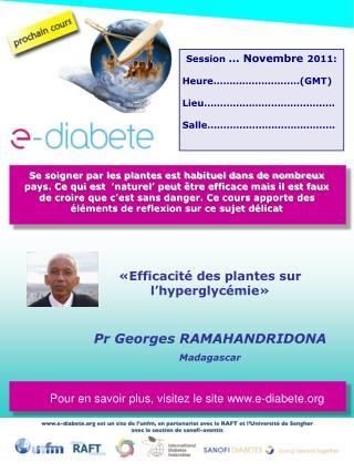 Efficacit  des plantes sur l hyperglyc mie     Pr Georges RAMAHANDRIDONA Madagascar