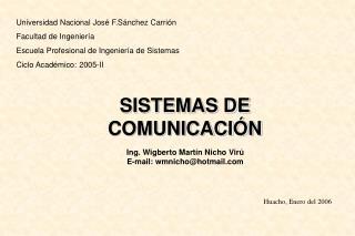 Universidad Nacional Jos  F.S nchez Carri n Facultad de Ingenier a Escuela Profesional de Ingenier a de Sistemas Ciclo A