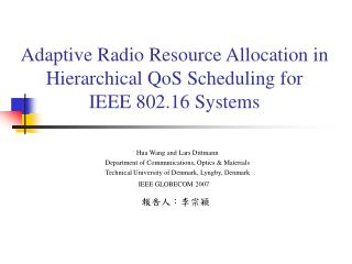 Adaptive Radio Resource Allocation in Hierarchical QoS Scheduling for IEEE 802.16 Systems
