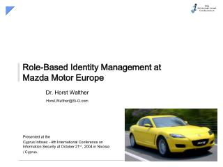 Role-Based Identity Management at Mazda Motor Europe