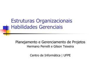 Estruturas Organizacionais Habilidades Gerenciais