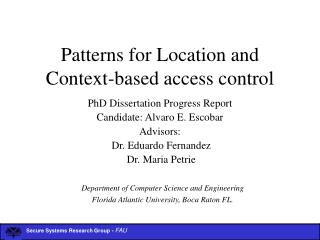 Patterns for Location and Context-based access control
