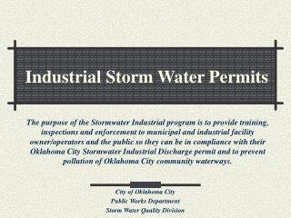 Industrial Storm Water Permits