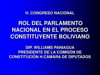 H. CONGRESO NACIONAL                    ROL DEL PARLAMENTO NACIONAL EN EL PROCESO CONSTITUYENTE BOLIVIANO   DIP. WILLIAM