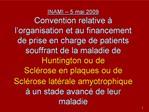 INAMI   5 mai 2009 Convention relative   l organisation et au financement de prise en charge de patients souffrant de la
