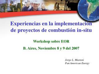 Experiencias en la implementaci n de proyectos de combusti n in-situ  Workshop sobre EOR  B. Aires, Noviembre 8 y 9 del