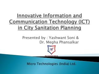 Innovative Information and Communication Technology ICT  in City Sanitation Planning