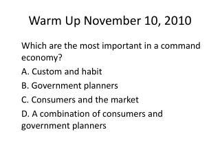 Warm Up November 10, 2010