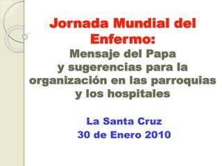 Jornada Mundial del Enfermo:  Mensaje del Papa  y sugerencias para la organizaci n en las parroquias  y los hospitales