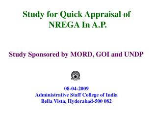 Study for Quick Appraisal of  NREGA In A.P.