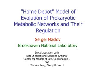 Home Depot Model of Evolution of Prokaryotic Metabolic Networks and Their Regulation