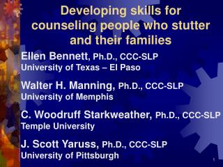 Developing skills for counseling people who stutter and their families