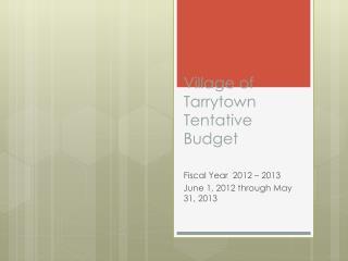 Village of Tarrytown Tentative Budget