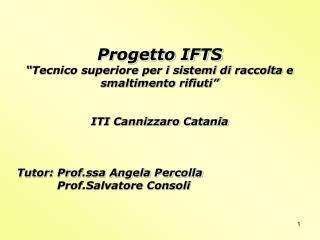 Progetto IFTS  Tecnico superiore per i sistemi di raccolta e smaltimento rifiuti    ITI Cannizzaro Catania    Tutor: Pro