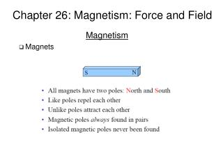 Chapter 26: Magnetism: Force and Field