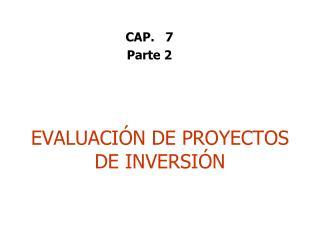 EVALUACI N DE PROYECTOS DE INVERSI N