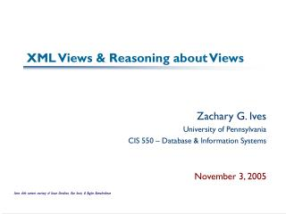 XML Views  Reasoning about Views