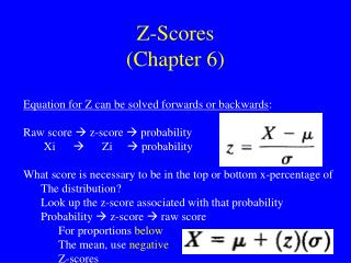 Z-Scores Chapter 6