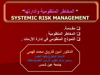SYSTEMIC RISK MANAGEMENT