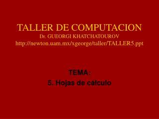 TALLER DE COMPUTACION Dr. GUEORGI KHATCHATOUROV newton.uam.mx