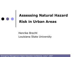 Assessing Natural Hazard Risk in Urban Areas