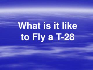 What is it like to Fly a T-28