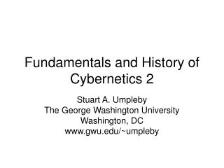 Fundamentals and History of Cybernetics 2
