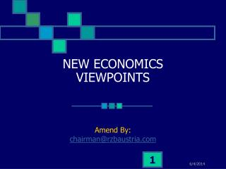 NEW ECONOMICS VIEWPOINTS