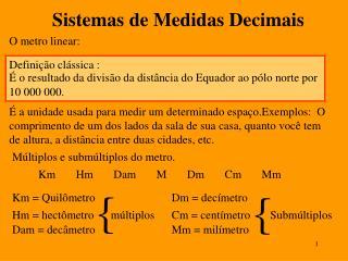 Sistemas de Medidas Decimais